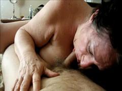 Adult videotape recording category blowjob (345 sec). Brunette Granny Sucks Dick Homemade.