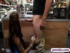 XXX porno category blowjob (300 sec). Booby tattooed woman fucked by pawn guy.