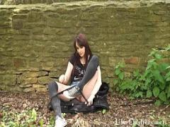XXX tube video category sexy (303 sec). Amateur babe Indigo nude in Northampton and teasing girlfriend stripping outdoor.