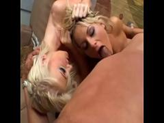 Adult videotape recording category cumshot (1162 sec). Busty blond coeds Courtney Simpson and Nadia Hilton rides a massive cock then gags on it during orgy.