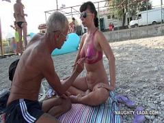 Adult video category milf (152 sec). Painted bikini.