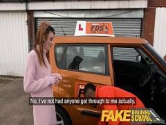 Free video category cumshot (708 sec). Fake Driving School Redhead horny minx quirts on mechanics big black cock.